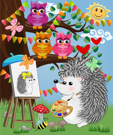A hedgehog artist in love draws on an easel amidst a forest glade, owls are watched from a branch. Profession, vocation, hobby, art Illusztráció