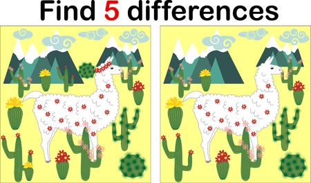 Finden Sie die Unterschiede zwischen den Bildern. Lernspiel für Kinder. Süßes Lama, Alpaka zwischen Kakteen und Bergen Vektorgrafik