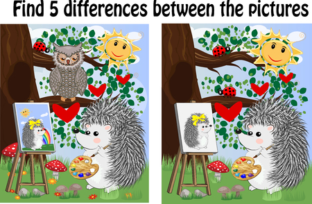 Find the differences between the pictures. Childrens educational game.