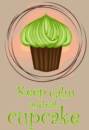 Keep calm and eat cupcakes.Different tasty desserts with berries, cream and sweet decor Illustration