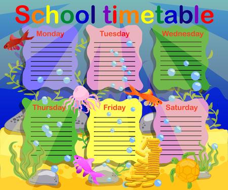 Progettazione dell'orario scolastico per i bambini. Sfondo subacqueo luminoso per la pianificazione della settimana scolastica