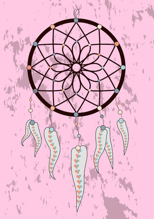 magic symbol Dreamcatcher with gemstones and feathers. Illustration
