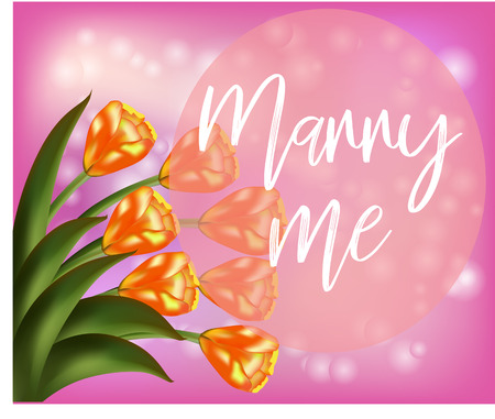 Pink floral background with tulips and inscription
