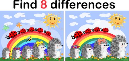 Encuentra las diferencias entre las imágenes. Juego educativo para niños. Erizos en un claro soleado cerca del arco iris, mariquitas