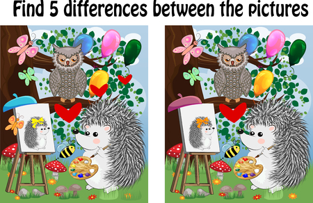 Find the differences between the pictures. Children's educational game. A hedgehog on a forest glade draws on an easel, owls sit on a tree branch and admire