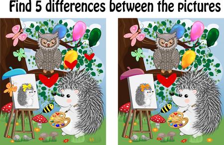 Trouvez les différences entre les images. Jeu éducatif pour enfants. Un hérisson sur une clairière de la forêt s'appuie sur un chevalet, les hiboux s'assoient sur une branche d'arbre et admirent