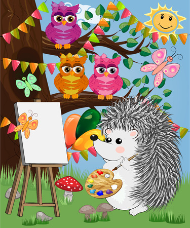 A hedgehog artist in love draws on an easel amidst a forest glade, owls are watched from a branch. Profession, vocation, hobby, art Иллюстрация