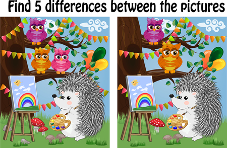 Find the differences between the pictures. Children's educational game. A hedgehog on a forest glade draws on an easel, owls sit on a tree branch and admire 일러스트