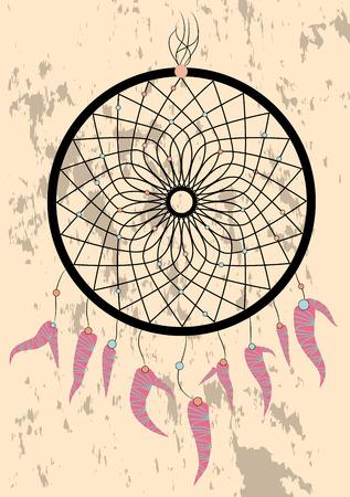 dream catcher boho native american indian talisman dreamcatcher. Clothes ethnic tribal design. Magic tribal feathers. Fashionable template Archivio Fotografico - 112248453