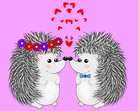 Couple of happy loving hedgehogs. Cute pair of animals dance and hug, male gives flowers to female. Love, romance and Valentine's theme. Ilustração