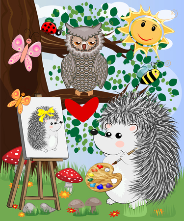 A hedgehog artist in love draws on an easel amidst a forest glade, owls are watched from a branch. Profession, vocation, hobby, art Illustration