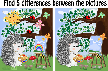 Find the differences between the pictures. Children's educational game. Hedgehog artist paints in the woods on the easel