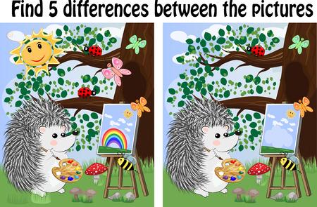 Finden Sie die Unterschiede zwischen den Bildern. Lernspiel für Kinder. Igelkünstler malt im Wald auf der Staffelei