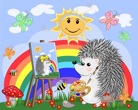 L'artiste hérisson peint une image de paysage dans la nature. Le concept de l'art, l'amour. L'artiste peint un portrait de sa bien-aimée. Paysage de dessin animé avec soleil, nuages, fleurs Vecteurs