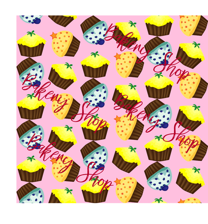 Seamless pattern with cupcakes on black background, sweet life, background