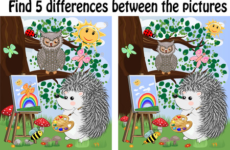 Find the differences between the pictures. Children's educational game. A hedgehog on a forest glade draws on an easel, owls sit on a tree branch