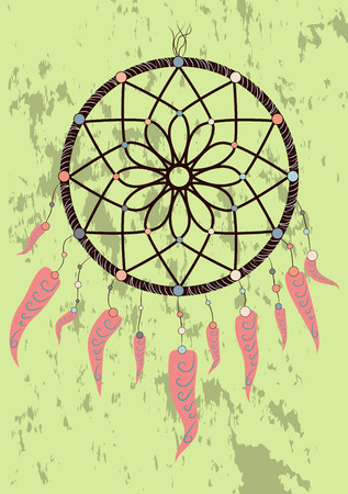 Illustration with hand drawn dream catcher. Feathers and beads. Doodle drawing. Vetores