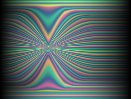 Black background with colored, iridescent twisted lines, neon effekt, glow. Neon modern stripes on a black background. 免版税图像 - 111903913