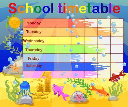 Conception de l'emploi du temps scolaire pour les enfants. Fond sous-marin lumineux pour la planification de la semaine scolaire