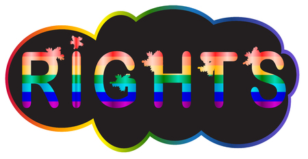 Rights - inscription in rainbow letters, lgtb concept Illustration