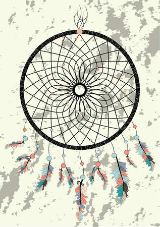 dream catcher boho native american indian talisman dreamcatcher. Clothes ethnic tribal design. Magic tribal feathers. Fashionable template