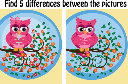 Children games: Find differences. Little cute owl sits on the tree branch. Çizim