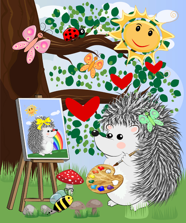 A hedgehog artist in love draws on an easel amidst a forest glade, owls are watched from a branch. Profession, vocation, hobby, art