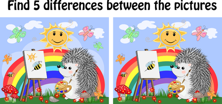 Find the differences between the pictures. Childrens educational game. A hedgehog artist on a clearing with a rainbow draws on an easel