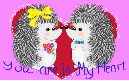 Couple of happy loving hedgehogs. Cute pair of animals dance and hug, male gives flowers to female. Love, romance and Valentine's theme. Vettoriali