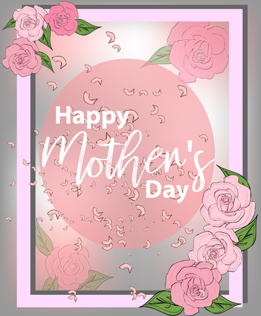 Moms day greeting poster design. Happy Mothers Day. Vector card with lettering and roses on pink background.