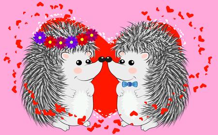 Couple de hérissons aimants heureux. Jolie paire d'animaux dansant et étreignant, le mâle donne des fleurs à la femelle. Amour, romance et thème de la Saint-Valentin. Vecteurs