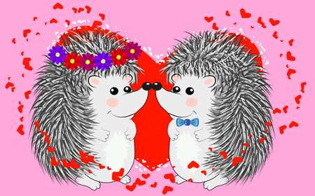 Couple of happy loving hedgehogs. Cute pair of animals dance and hug, male gives flowers to female. Love, romance and Valentine's theme.
