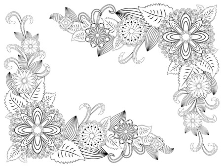 illustration zentangl. Flower frame for photo. Coloring book. Antistress for adults and children. Black and white.