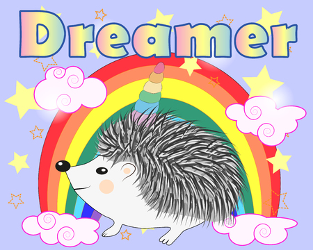 A cute cartoon hedgehog with a unicorn horn on a rainbow. Concept everyone can be a unicorn 写真素材 - 126656540