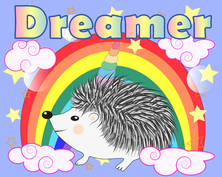A cute cartoon hedgehog with a unicorn horn on a rainbow. Concept everyone can be a unicorn