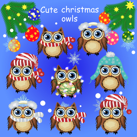 Set of cute cartoon Christmas owls on a Christmas background Illustration