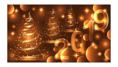 Christmas tree. Neon lights swirl. Decoration glowing line for xmas card, banner. Ilustração