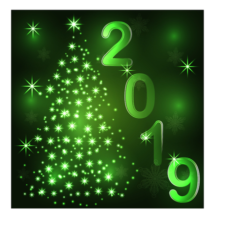 Christmas tree. Neon lights swirl. Decoration glowing line for xmas card, banner.