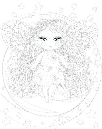 cute fairy girl on moon.Sketch, postcard, print, coloring adult anti stress book. Boho zen art style doodle. Illustration