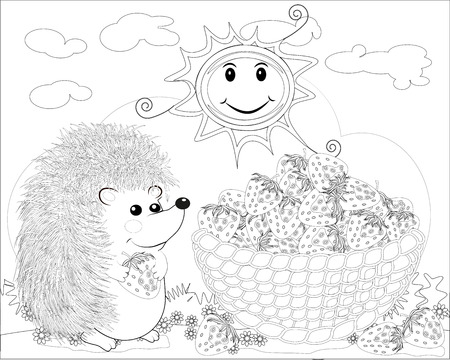 Coloring page outline of cartoon hedgehog with strawberry. coloring book for kids.