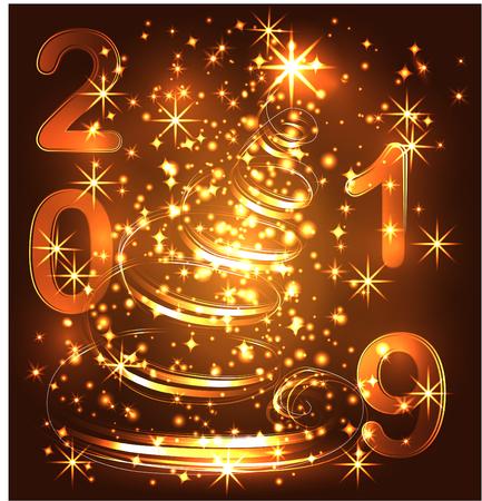Frohe Weihnachtskarte mit Weihnachtsbaum von Disco Lichter