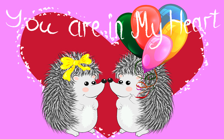 Couple of happy loving hedgehogs. Cute pair of animals dance and hug, male gives flowers to female. Love, romance and Valentines theme.