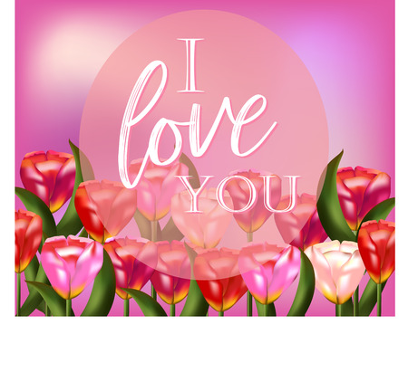Pink floral delicate background with realistic tulips and inscription
