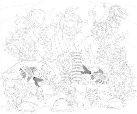 Underwater world. Anti stress coloring book for adult. Outline drawing coloring page.