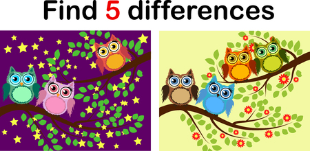 Cartoon Illustration of Find the Differences Educational Activity Game for Children with Owls