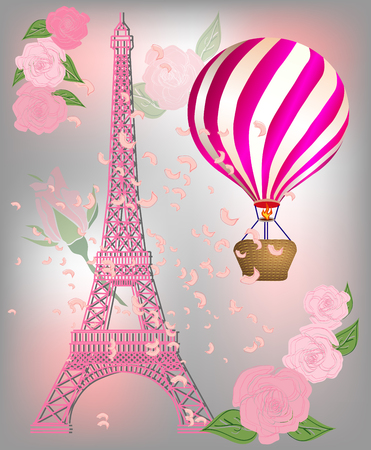 Beige French Paris background with Eiffel Tower and air balloons.