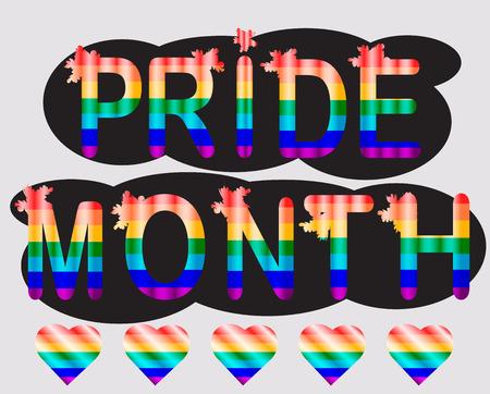 Pride month - inscription in rainbow letters, lgtb concept