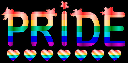 Pride - inscription in rainbow letters, lgtb concept