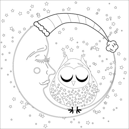 Coloring book for adult and older children. Coloring page with an owl on the moon among the stars. Ilustrace