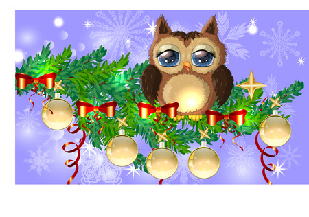 Lovely cartoon owl tangled in a garland of glowing light bulbs on a spruce branch decorated with balls, garlands. Christmas card
